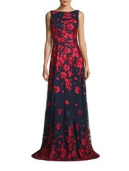 David Meister Floral Print Gown Red Navy