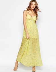 Traffic People Cami Maxi Dress In Ditsy Floral Print Yellow