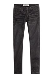 Off White Skinny Jeans With Embroidery Black