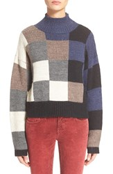 Current Elliott 'The Boxy' Mock Neck Sweater Checkered Shades