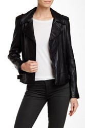 7 For All Mankind Genuine Leather Moto Inspired Jacket Black