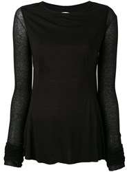 Rick Owens Lilies Backless Long Sleeve T Shirt Women Cotton Polyamide Viscose 44 Black