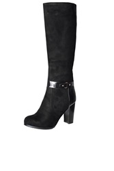 Alice And You Patent Knee High Boot Black