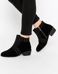 Daisy Street Black Studded Ankle Boots Black