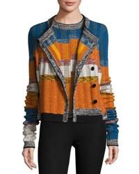 Joseph Striped Button Front Cardigan Orange Blue