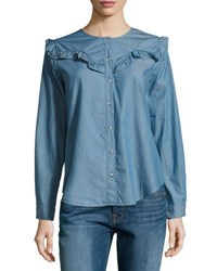 Mih Jeans Niki Ruffle Yoke Chambray Shirt Blue
