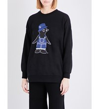 Chocoolate Penguin Print Knitted Jumper Black