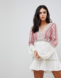 Hazel Embroidered Floaty Long Sleeved Dress Off White