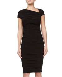 Melissa Masse Asymmetric Ruched Dress Black