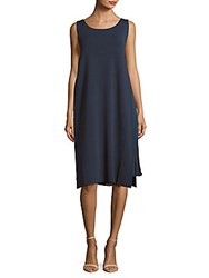 Lafayette 148 New York Boatneck Layered Dress Bateau Blue