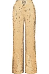 Alice Olivia Racquel Sequined Tulle Wide Leg Pants Gold