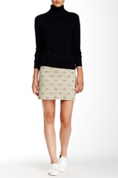 Gant By Michael Bastian Allover Embroidered Cord Mini Skirt Beige
