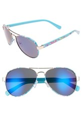 Lilly Pulitzerr Women's Pulitzer Ainsley 59Mm Polarized Aviator Sunglasses Blue