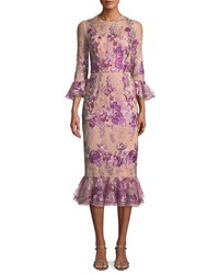 David Meister Floral Embroidered Trumpet Sleeve Dress W Flounce Hem Pink