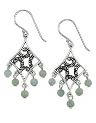 Lord And Taylor Marcasite And Jade Chandelier Earrings Jade Green