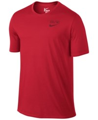 Nike Men's Elite Back Stripe Dri Fit Basketball T Shirt Red