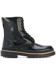 Burberry Lace Up Polished Leather Boots Black