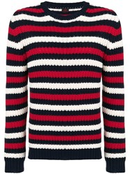 Massimo Piombo Mp Striped Chunky Sweater Black