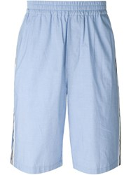 Msgm Stripe Detail Bermuda Shorts Blue