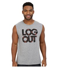 Life Is Good Log Out Muscle Tee Heather Gray Men's Sleeveless