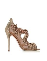 Oscar De La Renta Ambria Bronze Metallic Nappa W Embroidery Mesh High Heel Sandals