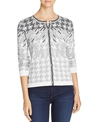 Foxcroft Houndstooth Cardigan Sweater Silver