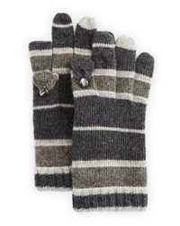 Portolano Stripe Print Cashmere Tech Gloves Heather Charcoal Gray