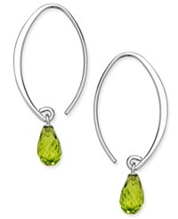 Macy's Peridot Briolette Threader Hoop Earrings 3 5 8 Ct. T.W. In Sterling Silver