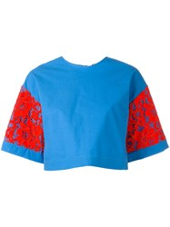 Msgm Crop Wide Sleeve T Shirt Blue