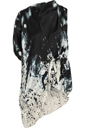 Maria Grachvogel Picabia Wrap Effect Printed Silk Satin Top Blue