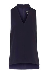 Topshop Roll Neck Tunic Top Navy Blue