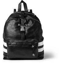 Balmain Panelled Leather Backpack Black