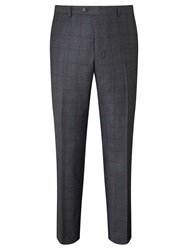 Paul Costelloe Super 110S Wool Windowpane Check Modern Fit Suit Trousers Charcoal