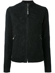 Isaac Sellam Experience Standing Collar Jacket Women Lamb Skin 38 Black