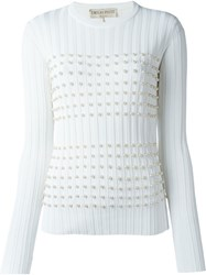 Emilio Pucci Pearl Embellished Sweater White