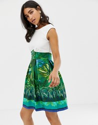Closet Green Floral Box Pleat Print Dress
