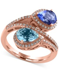 Effy Collection Tanzanite Royale By Effy Tanzanite 9 10 Ct. T.W. Aquamarine 1 Ct. T.W. And Diamond 1 3 Ct. T.W. Ring In 14K Rose Gold