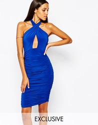 Club L Slinky Wrap Front Dress With Halterneck Cobaltblue