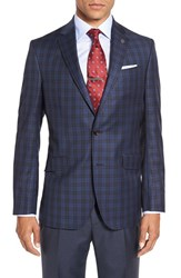 Ted Baker Men's London 'Jones' Trim Fit Plaid Wool Sport Coat Blue