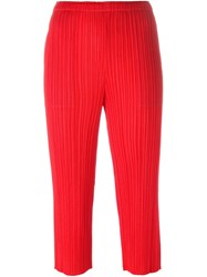Issey Miyake Pleats Please By Cropped Pleated Trousers Red