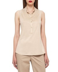 Akris Sleeveless Silk Jersey Blouse Champagne