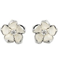 Shaun Leane Cherry Blossom Silver Ivory Enamel And Diamond Stud Earrings Small