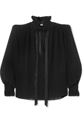 Saint Laurent Pussy Bow Silk Georgette Blouse Black