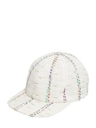 Maison Michel Hailey Striped Tweed Baseball Cap Ivory