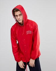Huf Hooded Coach Jacket With Embroidered Back Logo In Red Red
