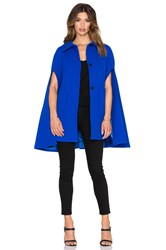 Milly Funnel Neck Cape Coat Blue