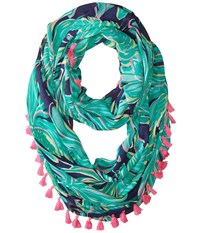 Lilly Pulitzer Riley Infinity Loop Bright Navy Tiger Palm Scarves Green