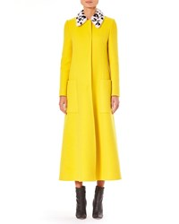 Carolina Herrera Fur Collar Single Breasted A Line Long Wool Coat Yellow