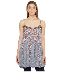 Brigitte Bailey Dena Spaghetti Strap Top With Beading Blue Red Women's Clothing