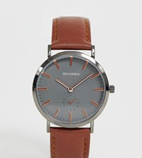 Sekonda Contrast Dial Leather Watch In Brown Exclsuive To Asos